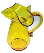Vintage Kanawha yellow crackle glass pitcher fl... - $22.00