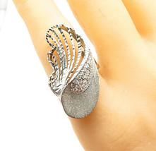 925 Sterling Silver - Vintage Sparkling Topaz Swirl Cocktail Ring Sz 8 -... - $27.96