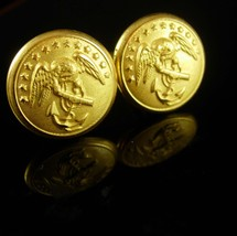 Navy Cuff links vintage gold eagle Cufflinks poseidon anchor military insignia u - $125.00