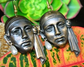 Vintage Pirate Sheik Face Earrings Copper Figural Dangles Faux Pearls - $34.95