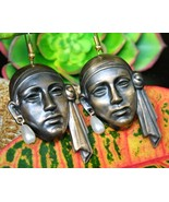 Vintage Pirate Sheik Face Earrings Copper Figur... - $34.95