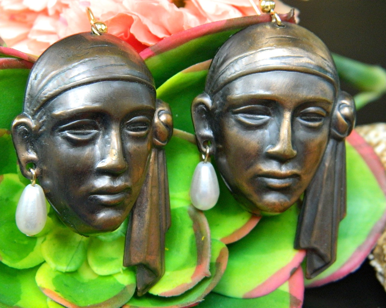 Vintage Pirate Sheik Face Earrings Copper Figural Dangles Faux Pearls