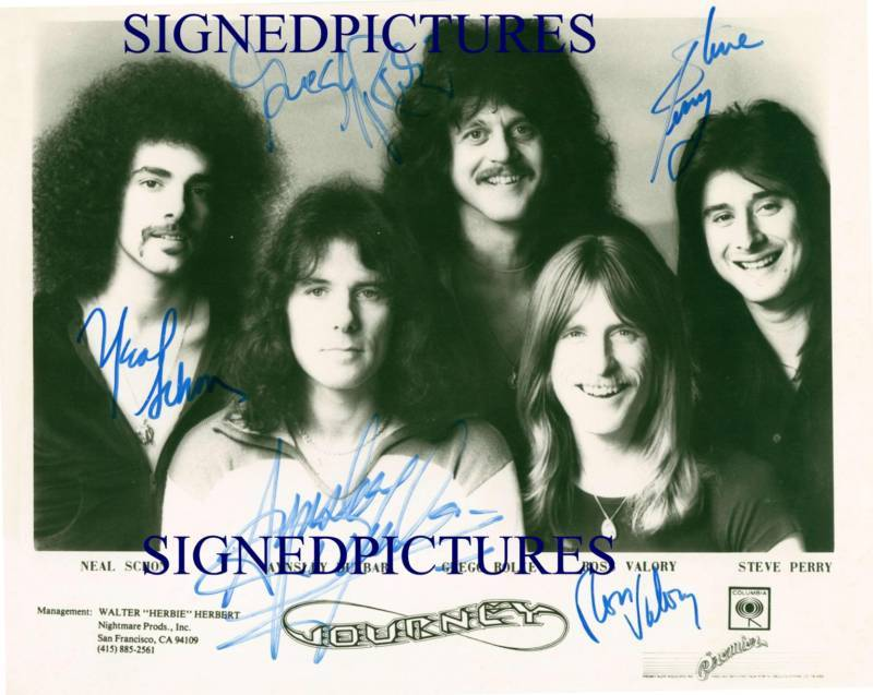 JOURNEY BAND GROUP AUTOGRAPH SIGNED 8x10 RP PROMO PUBLICITY PHOTO STEVE PERRY +