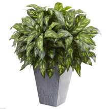 "Silver King w/Slate Planter Natural Indoor 27"" LARGE ARTIFICIAL SILK - $189.99"