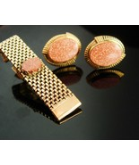 Elegant Wedding Cufflink Set large tieclip Exquisite Red Goldstone Vital... - $165.00