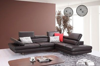 J&M A761 Brown Full Top Grain Leather Italian Sectional Sofa Modern Right