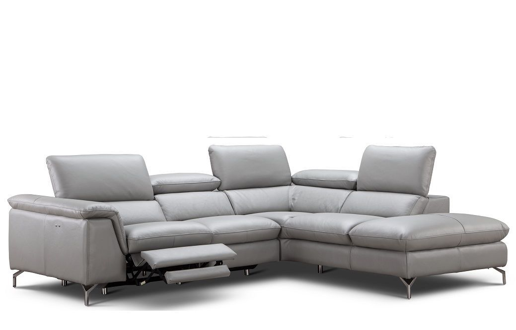 J&M Viola Premium Italian Leather Sectional Chic Modern Right Hand Facing