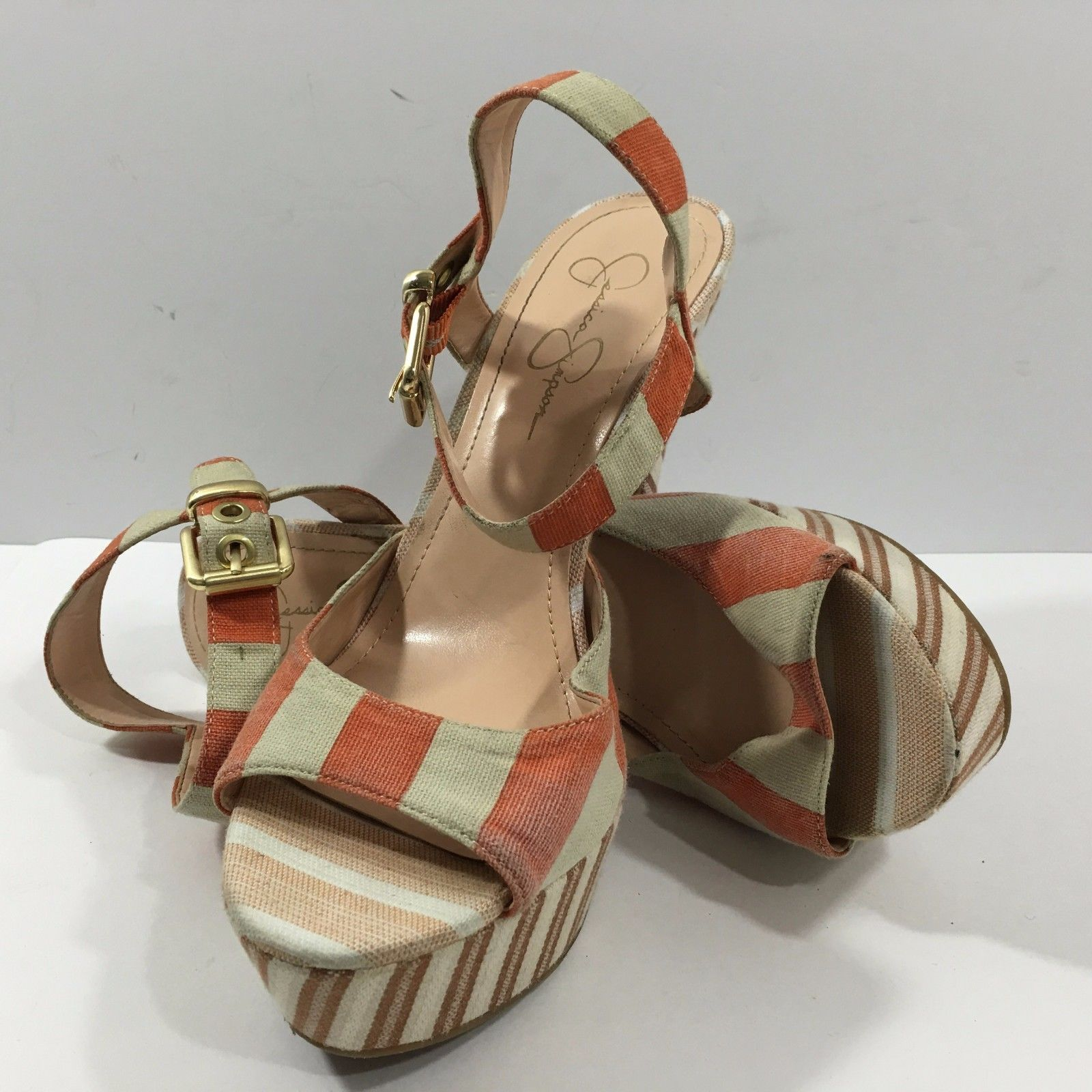 Primary image for Jessica Simpson Sundown Yacht Stripe Papaya Platform Pump Sandals (10B / 40)