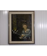 Original 1964 Signed WAI MING Oil Painting Chinese Street Scene Musician... - $5,148.00