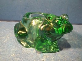 Indiana Glass Frog Toad Spanish Green Candle Votive Holder - $13.99