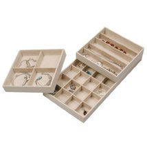 Stock Your Home Stacking Faux Leather Jewelry Trays Set of 3 with Dual h... - £24.34 GBP