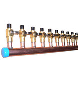 """1 1/2"""" Copper Manifold 3/4"""" Pex Crimp Fitting (With Ball Valve) 2-12 Loops* - $43.06+"""