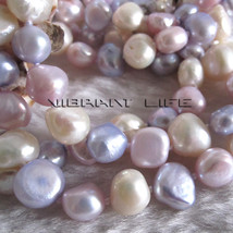 "50"" 8-9mm White Pink Gray-Blue Baroque Freshwater Pearl Necklace AC - $17.36"
