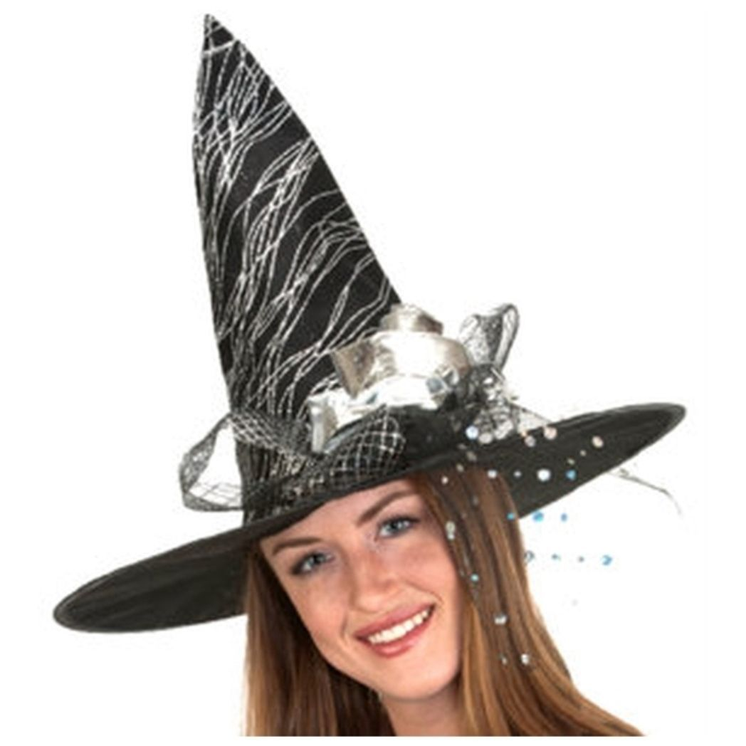 Black Silver Glitter Halloween Witch Hat Flower  18 in