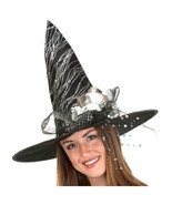 Black Silver Glitter Halloween Witch Hat Flower  18 in - £10.14 GBP