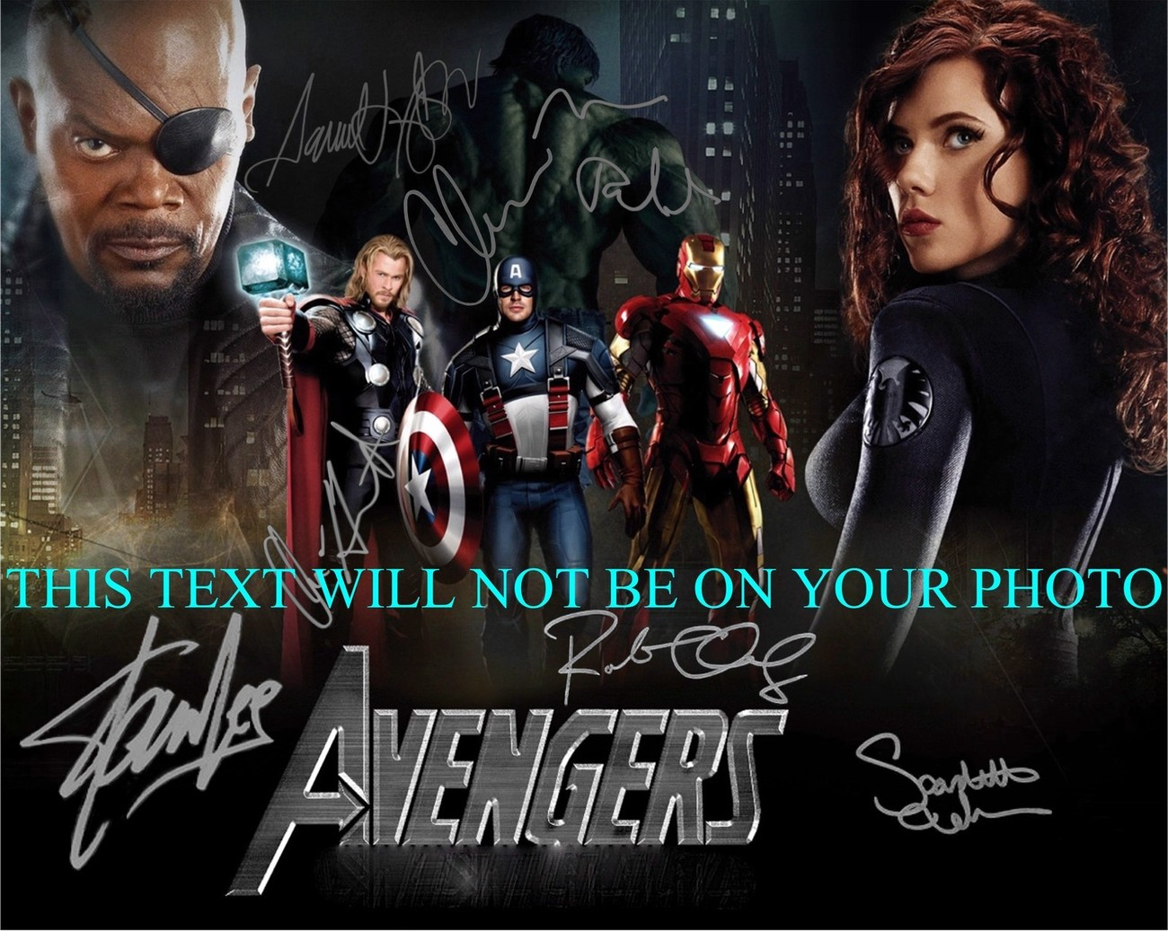 THE AVENGERS CAST AUTOGRAPHED RP PHOTO BY 7 LEE JACKSON DOWNEY JOHANSSON RUFFALO