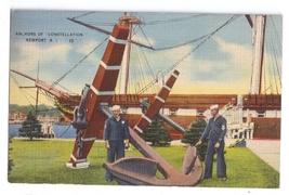 Anchors Constellation Newport RI 1942 Linen Postcard Naval Training - $4.99