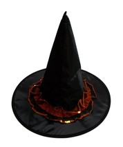 Black Orange Sequin Trim Halloween Witch Hat  18 in - €11,56 EUR