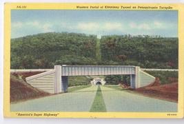 PA Kittatinny Tunnel Pennsylvania Turnpike Linen Curteich Postcard 1940 - $4.99