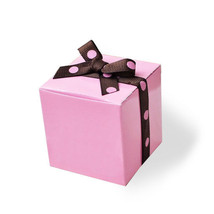 10 Pink Party Favor Boxes with Polka Dot Ribbon... - $8.49