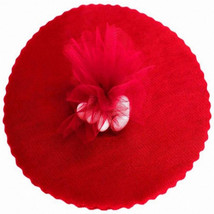 """50 Scalloped Tulle Circles 9"""" Wedding Favor Wrap - Red - $4.46"""