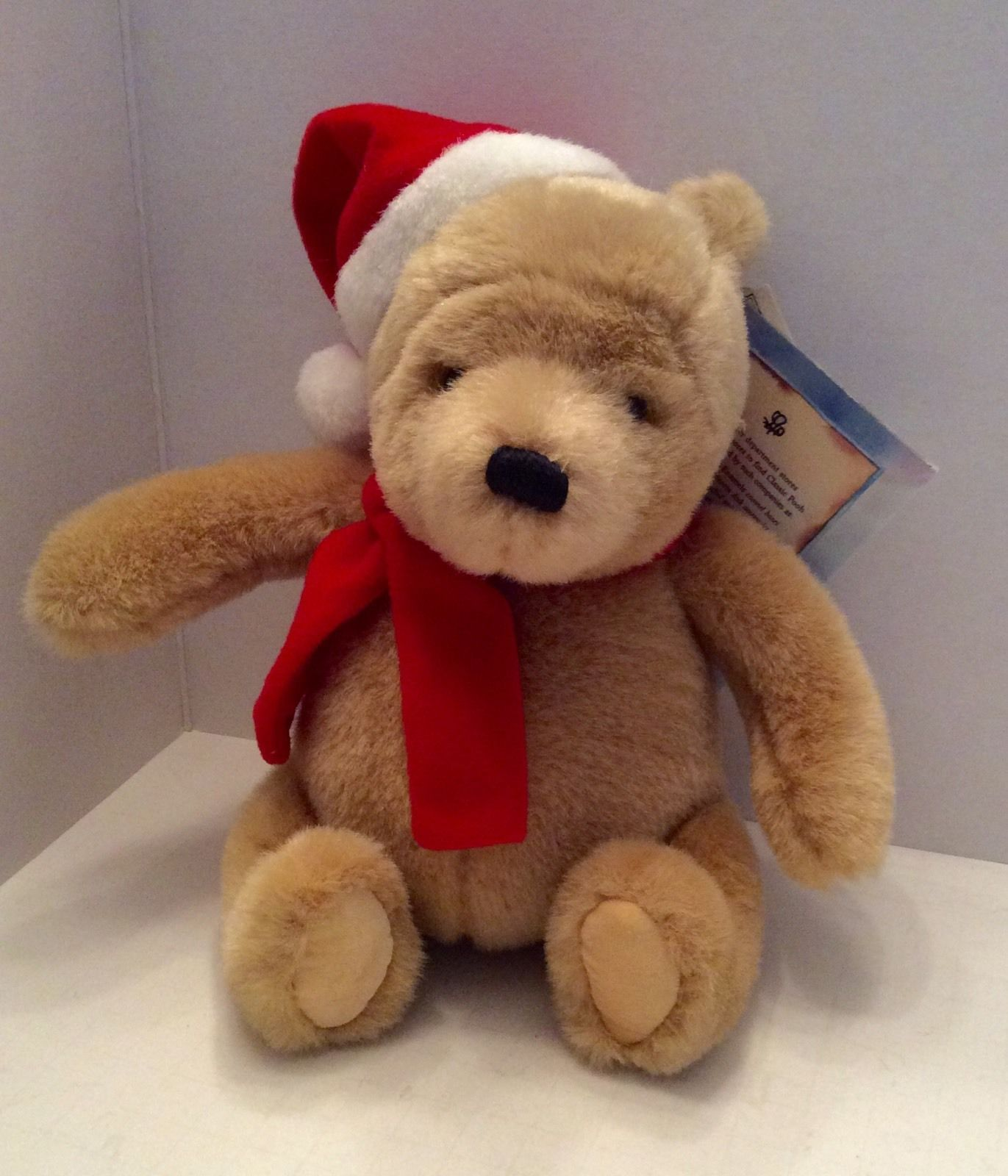 Gund Bear - Disney Classic Plush Winnie The Pooh Christmas Bear Santa Hat Scarf