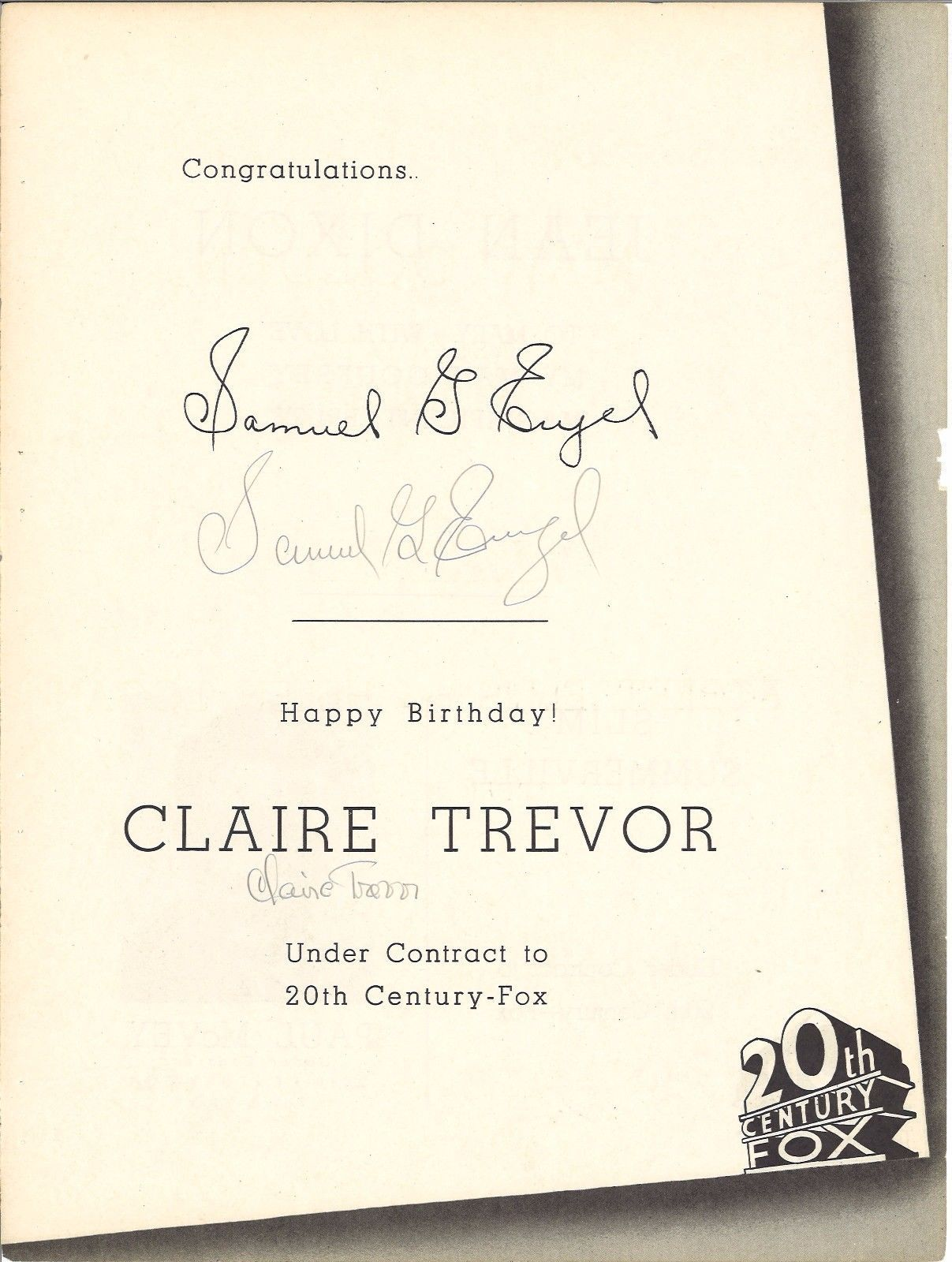 * Actress CLAIRE TREVOR and Producer SAMUEL G. ENGEL Autographed Fox Trade Ad