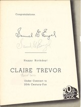 * Actress CLAIRE TREVOR and Producer SAMUEL G. ENGEL Autographed Fox Tra... - $49.95