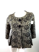 WORTHINGTON BLACK & GOLD METALLIC BROCADE SHORT JACKET / BOLERO ~ M - $14.85