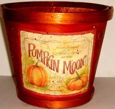 Dark Orange Wooden Basket w/ Pumpkin Motif - $9.00