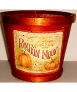 Dark Orange Wooden Basket w/ Pumpkin Motif - $9.00