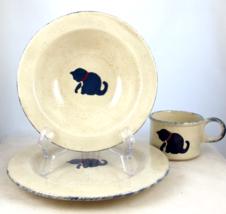 Vintage Earth Designs stoneware child's dinnerware set cat motif  - $20.00