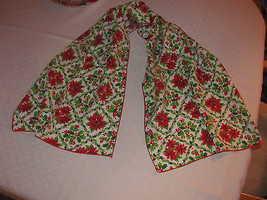 CHRISTMAS TABLE RUNNER OR SCARF-RED-POINSETTAS-... - $2.97