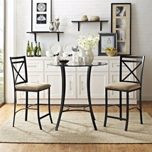 Dining Table Set for 2 Small Black 3-pc.  Counter Height Round Beveled G... - $224.20