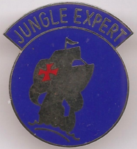 "Vintage US Army ""Jungle Expert"" NOS DI Crest Enameled Metal 1 1/8"" Hat Pin - $5.00"