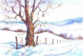 """Akimova: WINTER ROAD, original , landscape, garden, appr. size 8.5""""x6"""" - $13.00"""