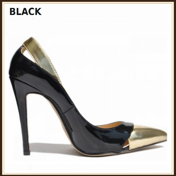 Paris Style 12 Fashion Colors PU Gold Toe Classic Stiletto High Heel Pumps