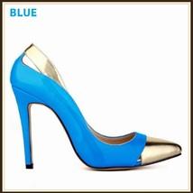 Paris Style 12 Fashion Colors PU Gold Toe Classic Stiletto High Heel Pumps  image 2