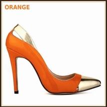 Paris Style 12 Fashion Colors PU Gold Toe Classic Stiletto High Heel Pumps  image 7