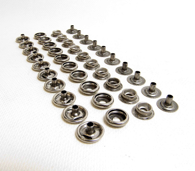 20 of Each Piece Dura Dot Nickel Plated Brass Snap Set Marine Grade