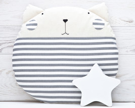 Striped Pillow Home Décor Animal pillow Mom Gift Gray Home Decor Cat Cus... - $28.50
