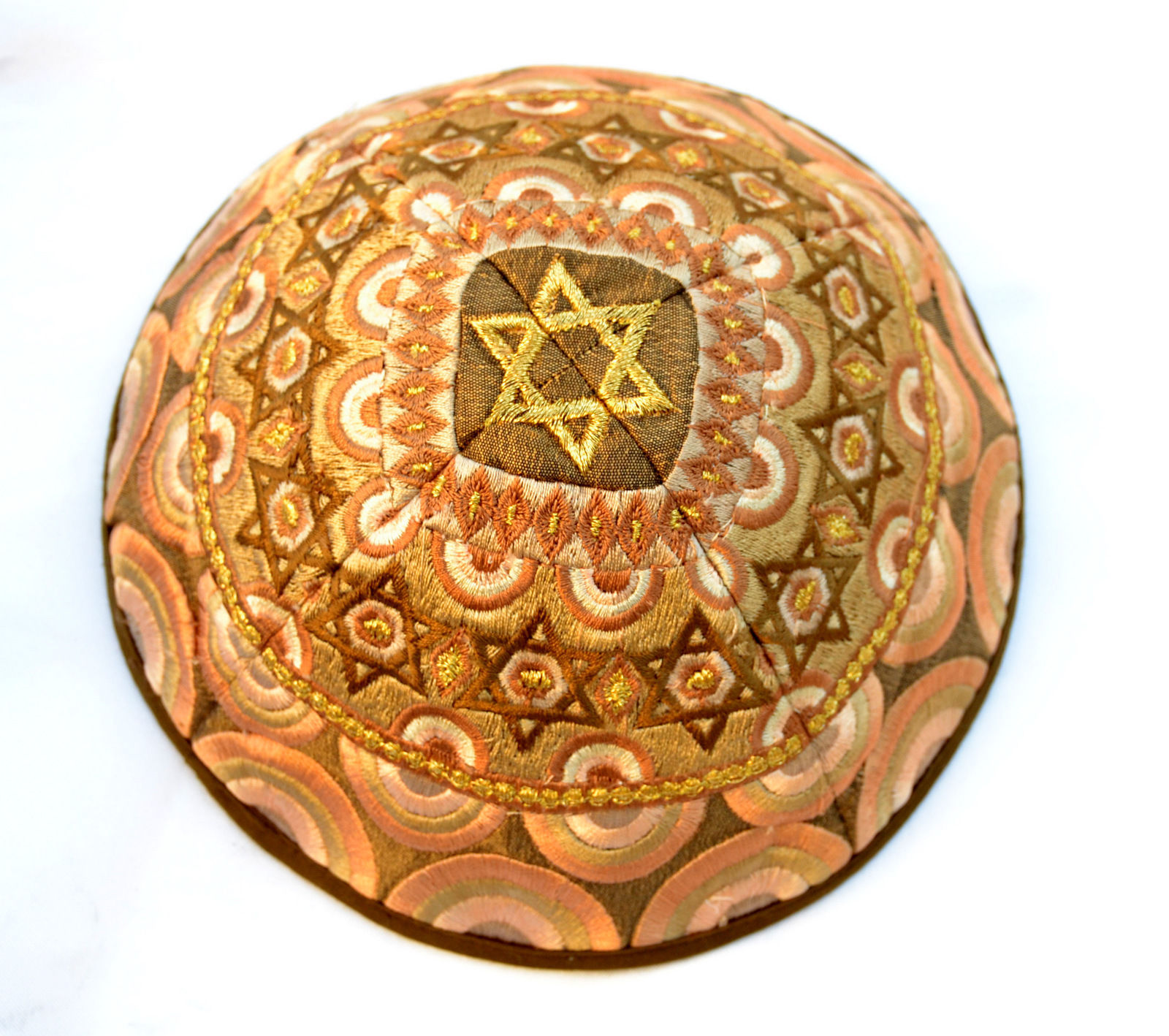 KIPPAH Yarmulke-Embroidered Kippas Star of David Rainbow Emanuel gold S-8