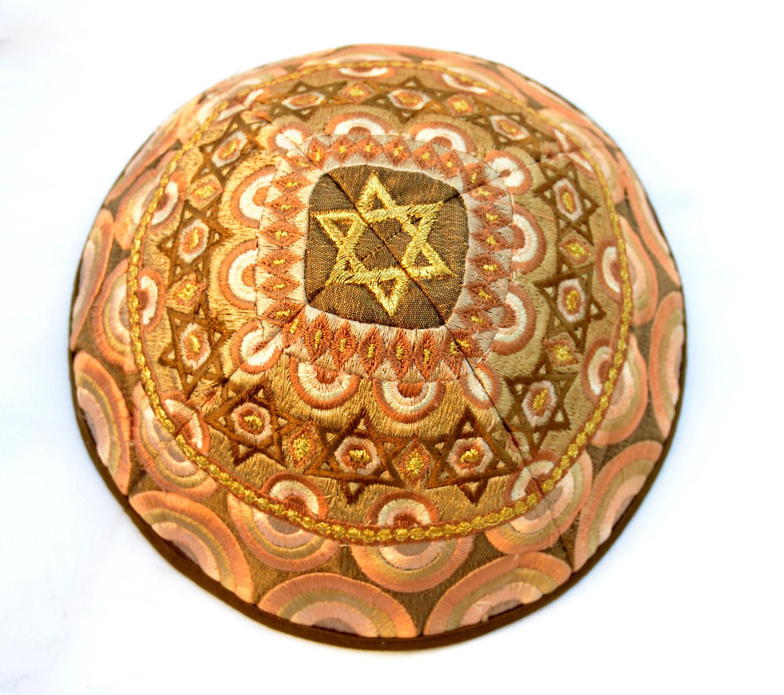 KIPPAH Yarmulke-Embroidered Kippas Star of David Rainbow Emanuel gold S-8