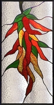 Hot Chili Peppers Stained Glass Panel - $385.00