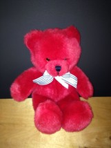 Vintage Applause Red Teddy Bear Plush Stuffed with Polka Dot Ribbon - $24.75