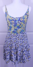 Free People Floral Stretchy Boho Skater Mini Yellow & Blue Dress Sz S - $24.95