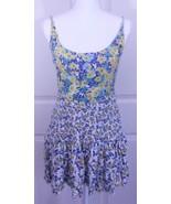Free People Floral Stretchy Boho Skater Mini Yellow & Blue Dress Sz S - $24.95