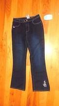 Jeans Girls Disney Fairies Tinker Bell Size 14-Dark Wash-Flowers Embroidered- - $3.99