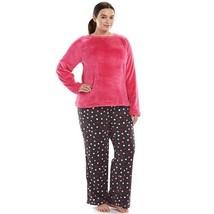 New So Womens Plus Size 3 X 2 Pc Plush Pajamas Microfleece Top & Pants Pajama Set - $24.18