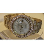 27 carat iced out diamond rolex watch datejust ... - $25,492.50